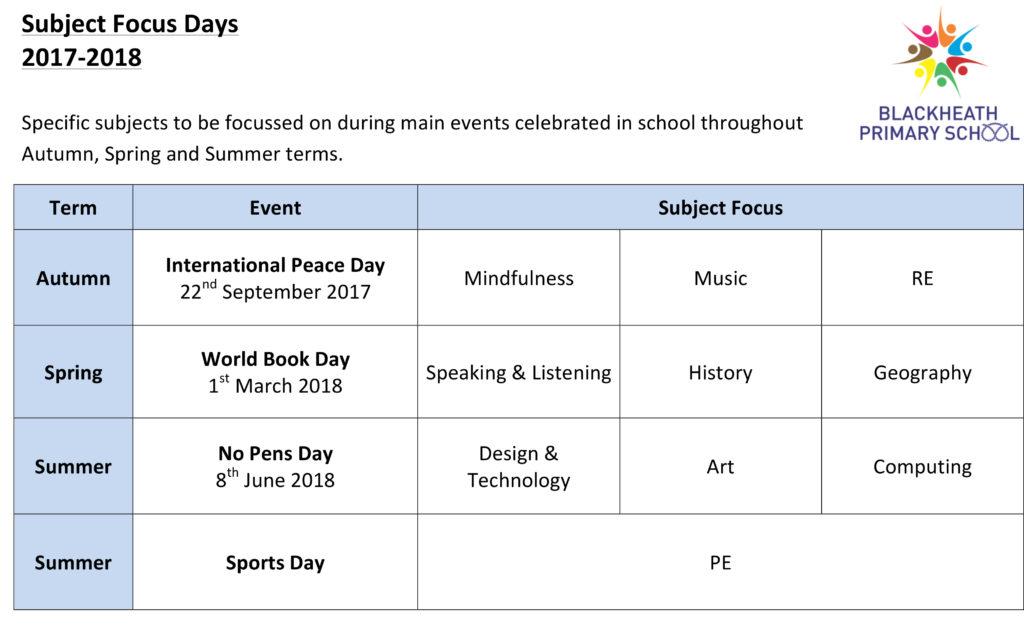 Microsoft Word - Subject Focus Days 2017-18.docx